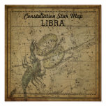 Libra Scales Constellation Star Map Scorpio Nov Poster
