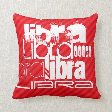 Libra; Scarlet Red Stripes Pillows