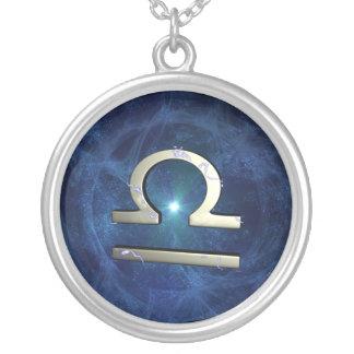 Libra symbol round pendant necklace