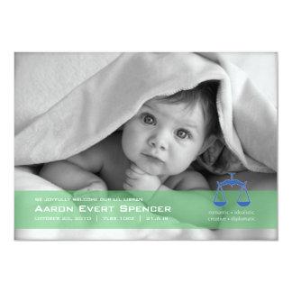 Libra the Scales Photo Birth Announcement Card