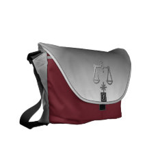 Libra The Scales Silver Zodiac Sign On Messenger Messenger Bag at Zazzle