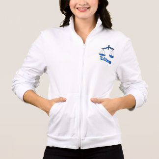 Libra the scales zodiac blue ladies zip up jacket