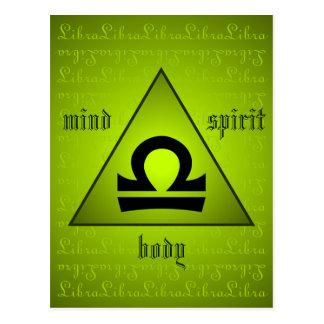 Libra Triangle Mind Body Spirit Holistic Green Postcard