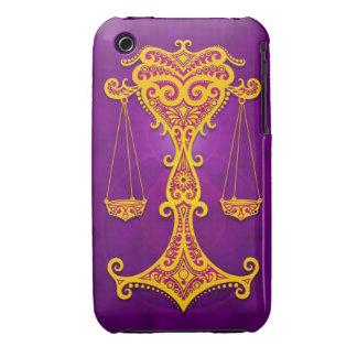 Libra tribal púrpura y amarillo complejo iPhone 3 Case-Mate cobertura