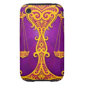 Libra tribal púrpura y amarillo complejo, iPhone 3 tough carcasa