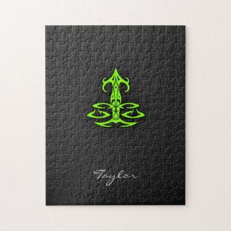 Libra verde chartreuse de neón puzzles