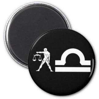 Libra with Symbol 2 Inch Round Magnet