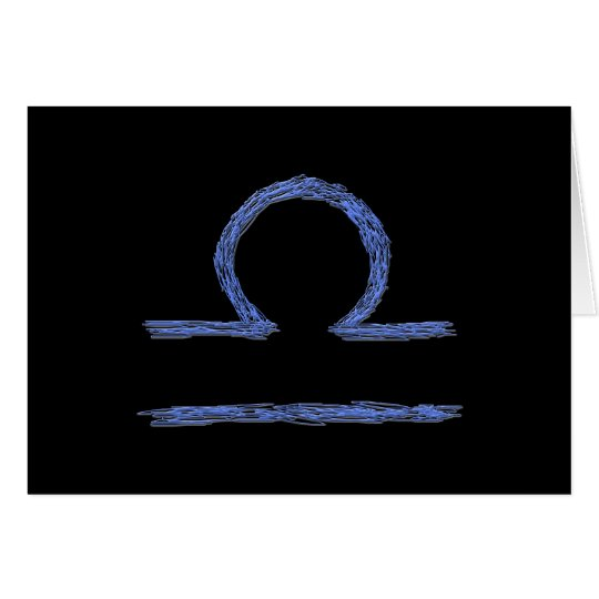 Libra. Zodiac Astrological Sign. Blue. Card