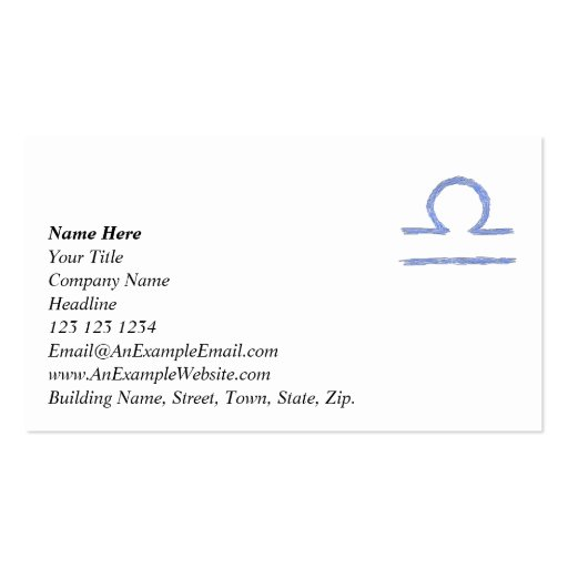 Libra. Zodiac Astrological Sign. Double-Sided Standard Business Cards (Pack Of 100)