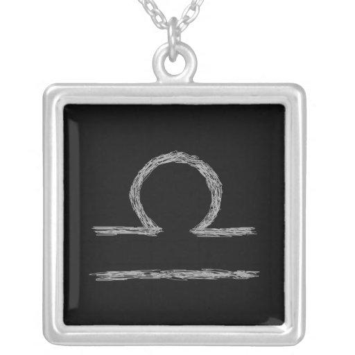 Libra. Zodiac Astrology Sign. Black. Personalized Necklace