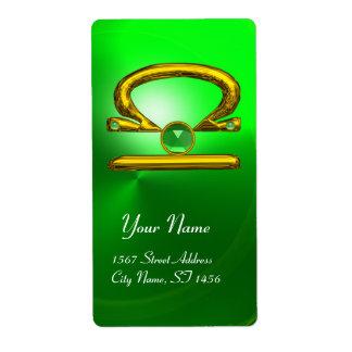 LIBRA ZODIAC BIRTHDAY Green Emerald Gold Custom Shipping Label