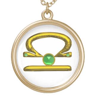 LIBRA ZODIAC BIRTHDAY JEWEL GREEN EMERALD Gold Gold Plated Necklace