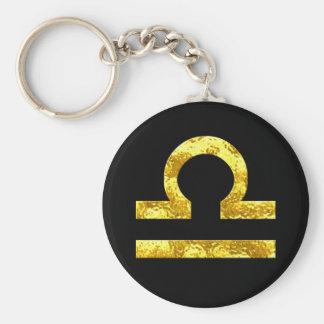 Libra Zodiac Sign Black Gold Symbol Basic Round Button Keychain