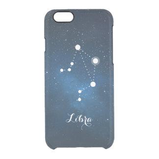 Libra Zodiac Sign Blue Nebula Clear iPhone 6/6S Case