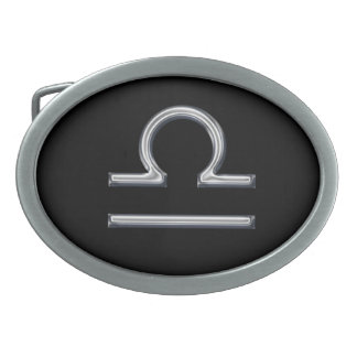Libra Zodiac Sign-Chrome Color Oval Belt Buckle