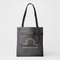Libra Zodiac Sign | Custom Background   Text Tote Bag