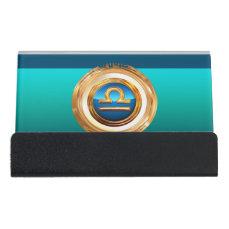 Libra Zodiac Sign Desk Business Card Holder