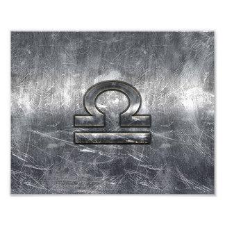 Libra Zodiac Sign in silver grunge steel style Photo Print