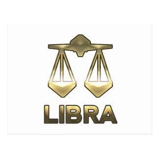 Libra zodiac sign - old gold edition postcard