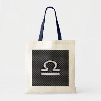 Libra Zodiac Sign on Black Carbon Fiber Print Tote Bag