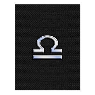 Libra Zodiac Sign on Black Snake Skin Decor Postcard
