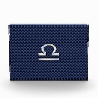 Libra Zodiac Sign on Blue Carbon Fiber Style Award