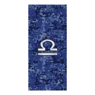 Libra Zodiac Sign on blue digital camo Rack Card