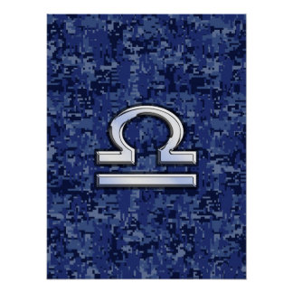Libra Zodiac Sign on Blue Digital Camouflage