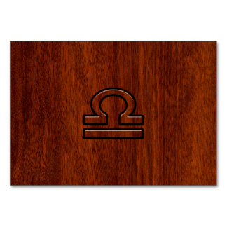 Libra Zodiac Sign on Mahogany Style Print Card