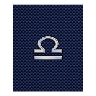 Libra Zodiac Sign on Navy Blue Carbon Fiber