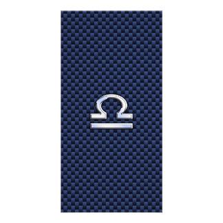 Libra Zodiac Sign on Navy Blue Carbon Fiber Card
