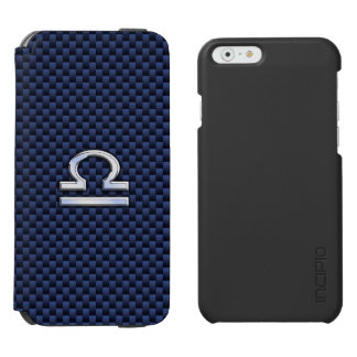 Libra Zodiac Sign on Navy Carbon Fiber Style iPhone 6/6s Wallet Case