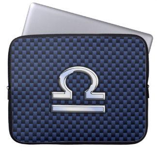 Libra Zodiac Sign on Navy Carbon Fiber Style Laptop Computer Sleeves