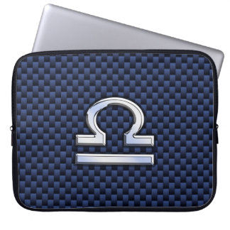 Libra Zodiac Sign on Navy Carbon Fiber Style Laptop Sleeve