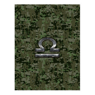 Libra Zodiac Sign on Woodland Green digital camo Postcard
