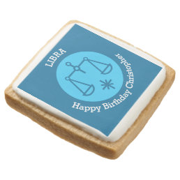 Libra Zodiac sign personalized birthday party Square Shortbread Cookie