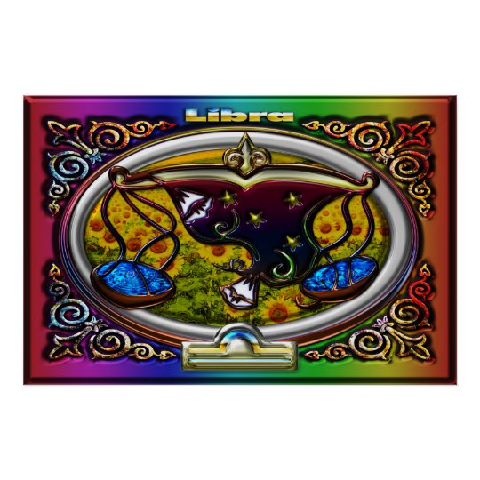 Libra Zodiac Sign Rainbow Background Poster