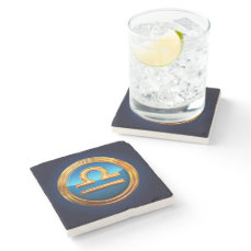 Libra Zodiac Sign Stone Coaster