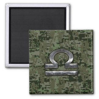 Libra Zodiac Sign Woodland Digital Camouflage Magnet