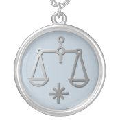 Libra Zodiac Star Sign In Light Silver necklaces