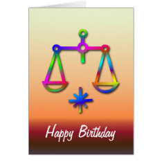 Libra Zodiac Star Sign Rainbow Birthday Card at Zazzle