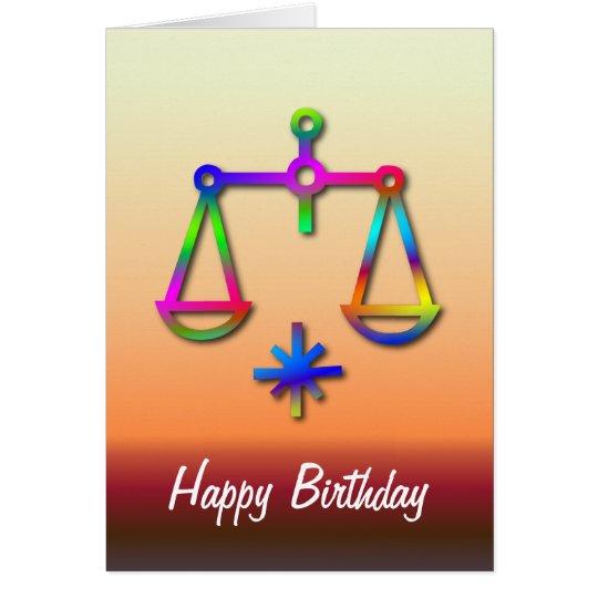 Libra Zodiac Star Sign Rainbow Birthday Card