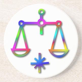 Libra Zodiac Star Sign Rainbow Coaster