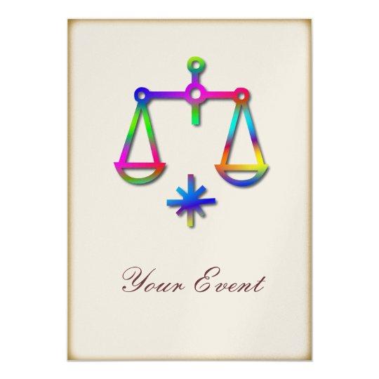 Libra Zodiac Star Sign Rainbow Party Event Card
