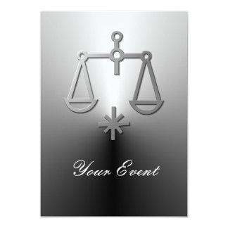 Libra Zodiac Star Sign Silver Party Card