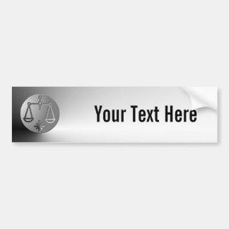 Libra Zodiac Star Sign Silver Premium Bumper Sticker