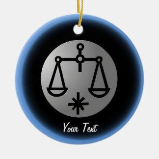Libra Zodiac Star Sign Silver Premium Double-Sided Ceramic Round Christmas Ornament