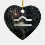 Libra Zodiac Star Sign Universe Birthday Heart Ceramic Ornament
