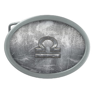 Libra Zodiac Symbol Distressed Industrial Steel Oval Belt Buckle