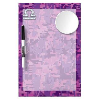 Libra Zodiac Symbol Fuchsia Pink Digital Camo Dry Erase Board With Mirror